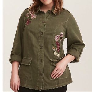 Torrid Women's Olive Floral Twill Jacket, Size 2X